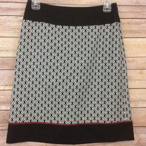Ann Taylor Black Red Textured A Line Skirt
